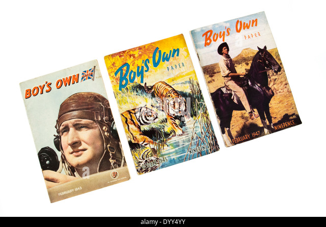 Set of three vintage 'Boy's Own Paper' magazines from 1943, 1945 and 1947 respectively. Published by - Stock Image