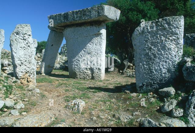 Megalithic stones in field, Menhir Talati de Dalt, Minorca, Balearic Islands, Spain - Stock Image