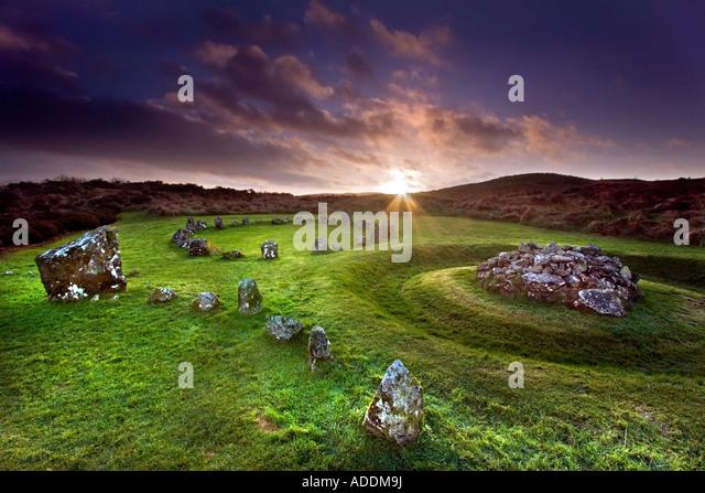 Beaghmore Stone Circles. - Stock Image