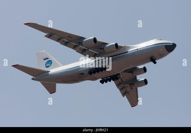 Russian Air Force Antonov An-124-100 Ruslan finals runway 31. - Stock Image