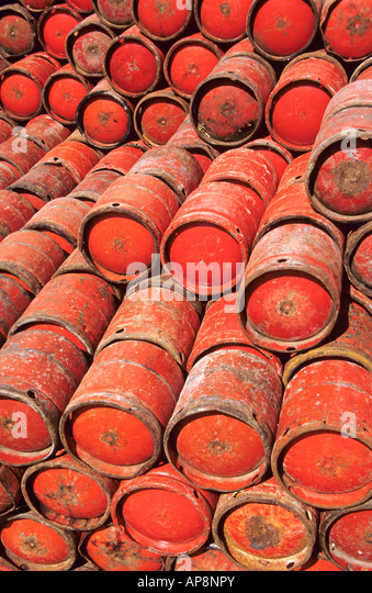 Red gas canister canisters - Stock Image