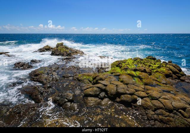 Lava Rock Coast at Los Barrancos, Tenerife, Canary Islands, Spain - Stock Image