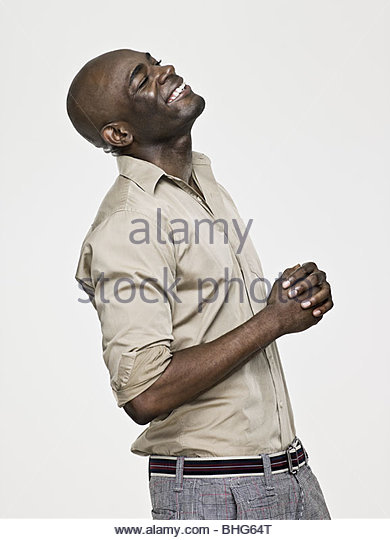 Laughing african american man - Stock-Bilder