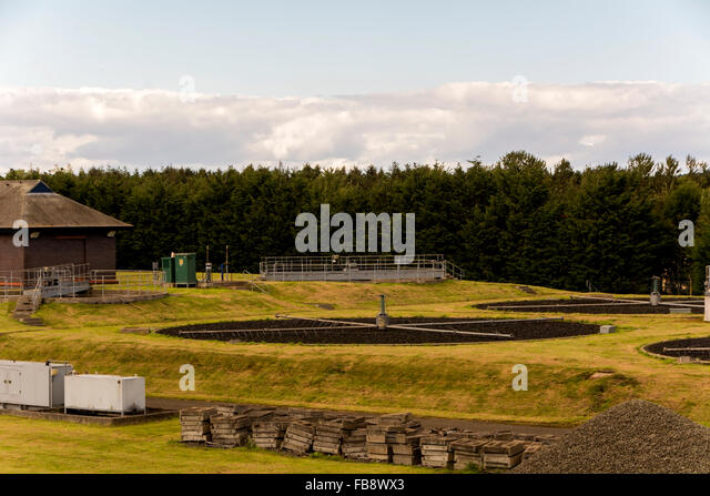 A small scale sewage / waste management works designed to blend in to the surrounding area. - Stock Image