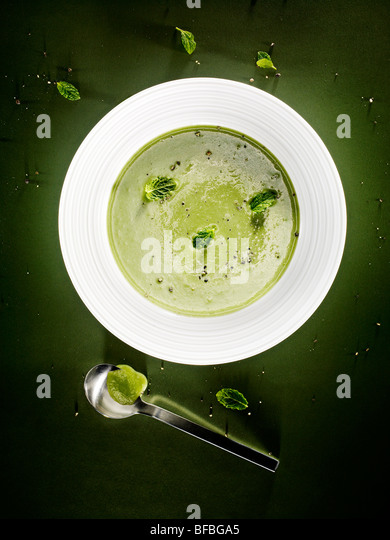Cucumber, mint and almond soup. - Stock Image