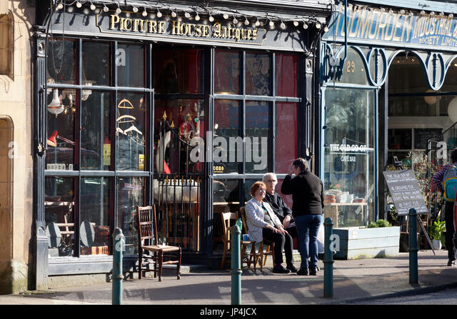 Shops in the town centre, Todmorden, West Yorkshire - Stock Image