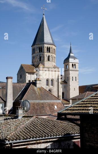 Cluny, Weihwasserturm, Uhrenturm, Nordwestansicht - Stock-Bilder