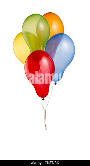 a bunch of colorful helium balloons isolated on white with clipping path - Stock Image