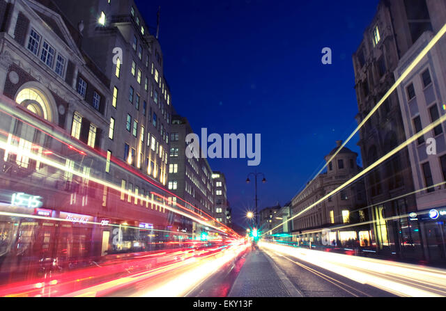 Light trails on The Strand, London, UK - Stock Image