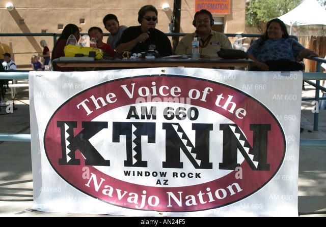 Albuquerque New Mexico State Fair Navajo Native American banner: KTNN Navajo Nation radio station T - Stock Image