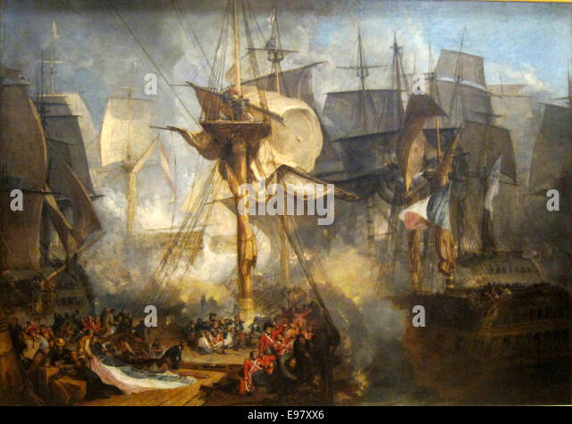 The Battle of Trafalgar by Joseph Mallord William Turner - Stock Image