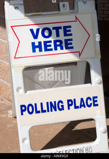 Voting sign at polling place. - Stock Image