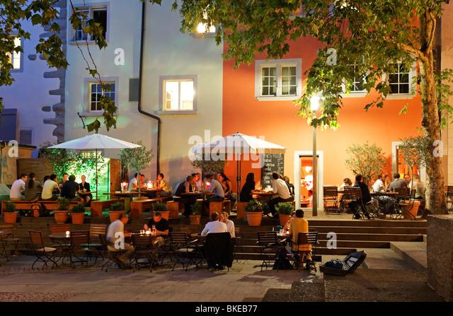 Restaurants and street cafes in Rosenhof in summer , Niederdorf, Zurich, Switzerland, - Stock Image