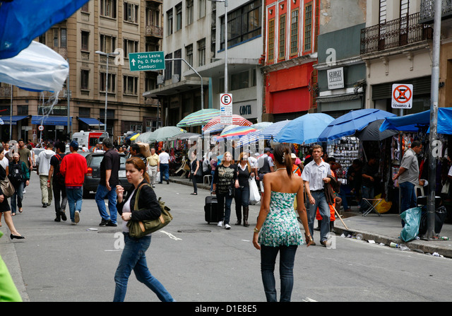 Street scene in Central downtown Sao Paulo, Brazil, South America - Stock Image