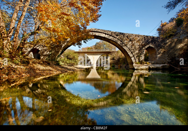 The Kaberaga (or 'Kaber Aga'), old stone bridge, close to Miliotades village, East Zagori region, Ioannina, - Stock Image