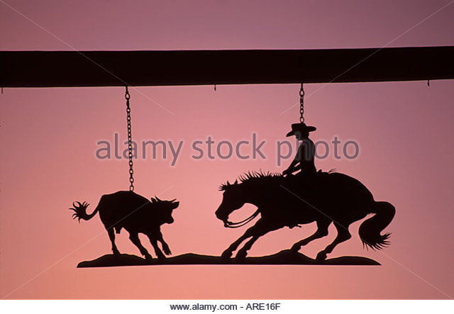 Arizona Sonora Desert Wickenburg entrance to working ranch dusk - Stock Image