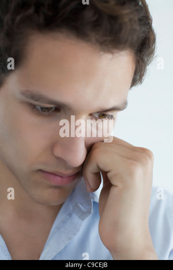 Man with sad expression - Stock Image