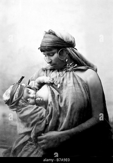 Historic photo, Bedouin woman with baby, Egypt, ca. 1870 - Stock Image