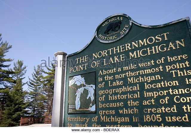 Michigan Upper Peninsula U.P. UP Naubinway Lake Michigan northernmost point Great Lakes sign marker - Stock Image