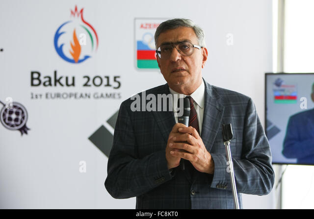 Azerbaijan National Olympic Committee Vice President Chingiz Huseynzade at an event for Azerbaijan medallists. Olympic - Stock Image