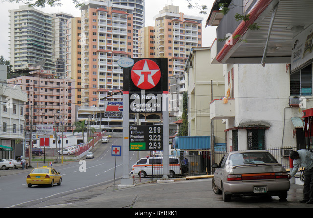 Panama City Panama Bella Vista neighborhood street scene Texaco American oil company logo fuel gasoline gas station - Stock Image