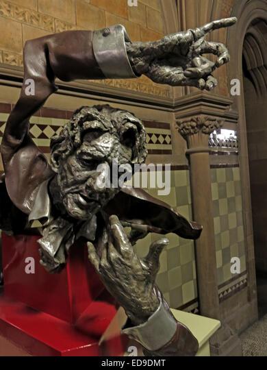 Side View of John Barbirolli statue art at Manchester Town Hall, Lancashire, England, UK - Stock Image