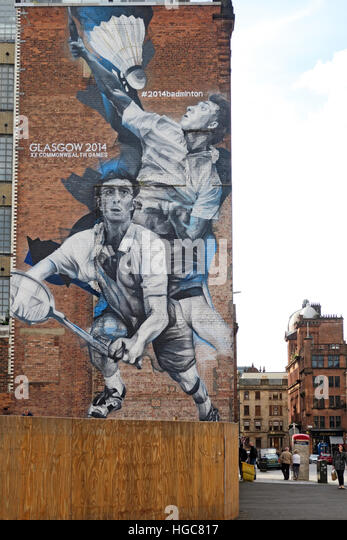 Glasgow Badminton art mural from Commonwealth Games - Stock Image