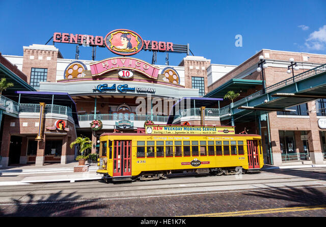 Tampa Florida Ybor City historic neighborhood Centro Ybor complex shopping TECO Line street car - Stock Image