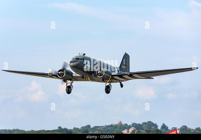 World War II era Douglas C-47 (DC-3) Dakota transport aircraft at the Farnborough International Airshow. - Stock Image
