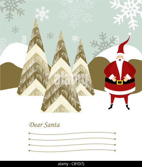 Dear Santa blank lines to write the Christmas gifts with santa claus illustration on snowy background. Vector file - Stock Image