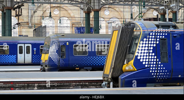 3 Scotrail Abellio train carriages,petition to bring back into state ownership,after poor service - Stock Image