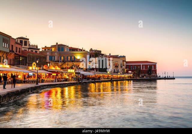 Old Venetian harbor of Chania town on Crete island, Greece. - Stock Image