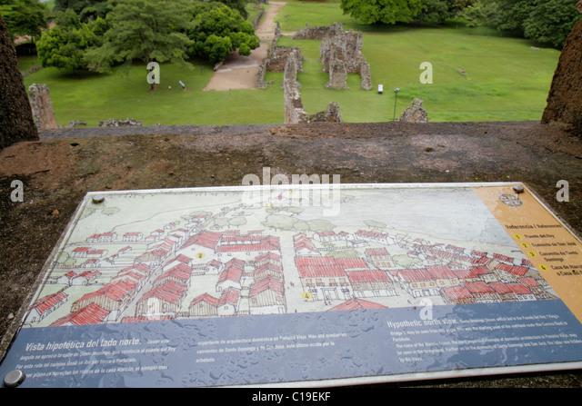 Panama City Panama Panama Viejo Ruinas Panama La Vieja ruina colonial Spanish settlement historic World Heritage - Stock Image