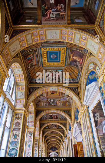 Russia, St Petersburg, Hermitage Museum.  Catherine the Great was so impressed by engravings of Raphael's frescoes - Stock Image