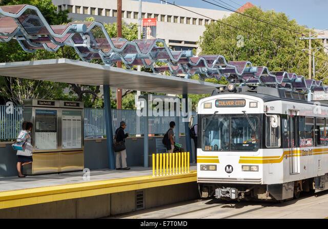 California CA Los Angeles L.A. LA County Metro Rail urban rail system mass transit public transportation Gold Line - Stock Image