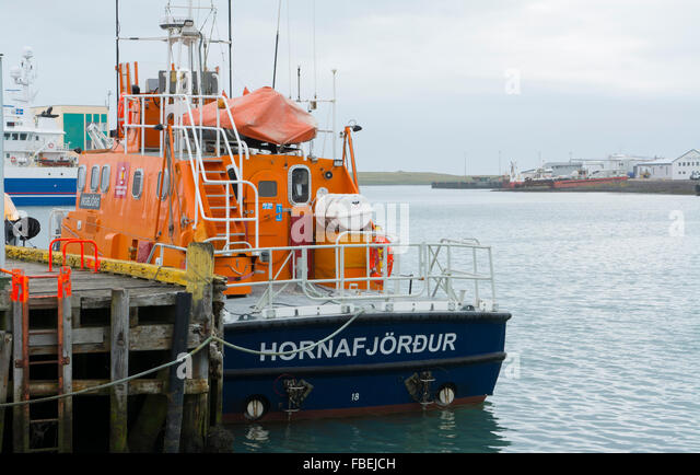 Iceland Hofn village fishing boating colorful ship abstrracts in marina port - Stock Image