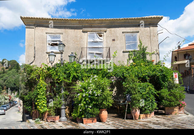 """the """" Bar Vitelli in the village of savoca on the island of sicily, italy, the bar featured in the """" Godfather """" - Stock Image"""