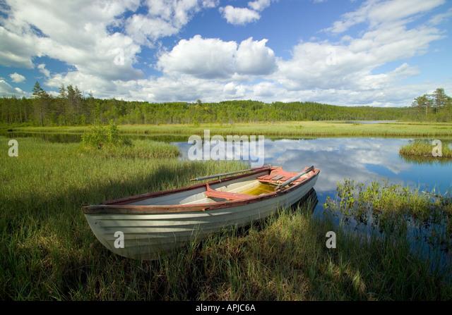 Boat on Lake Bredsjon near Torsby in Varmland County Sweden - Stock Image