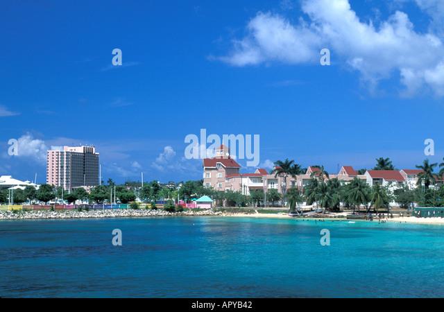 Jamaica Ocho Rios coastline bright blue sky - Stock Image