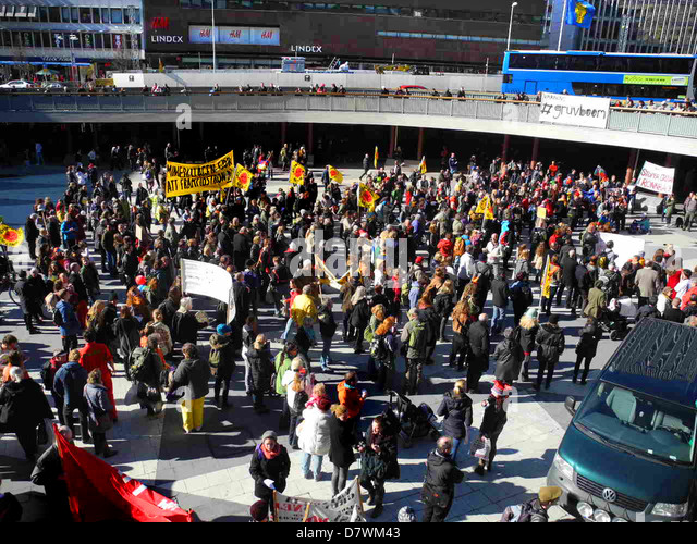 Demonstration against mining 20 April 2013 in Stockholm, Sweden - Stock-Bilder