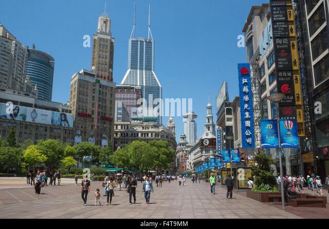 China, Shanghai City, Nanjin Lu Street - Stock Image