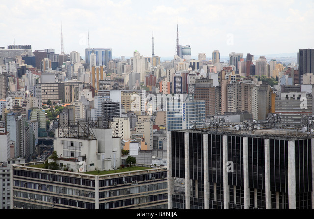 City skyline of Sao Paulo in Brazil - Stock Image