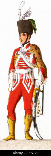 The figures represented here are, from left to right: Prussian 1846: The line, Body Guard, Cuirassier, Officer of - Stock-Bilder
