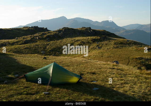 Snowdon from a high camp on Ysgafell Wen in the Moelwyn range, Snowdonia, North Wales, UK - Stock Image