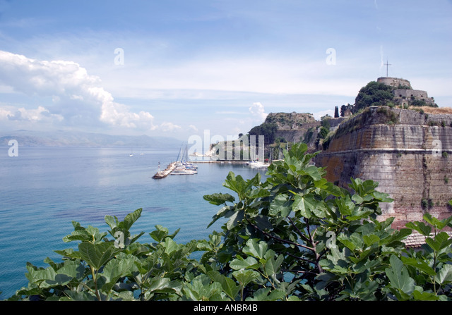 Boats moored near Old Fortress, Kerkyra, Corfu, Greece, - Stock Image