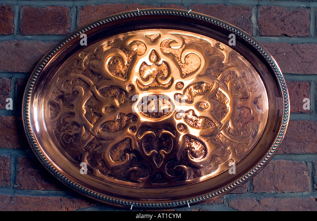 Copper Oval Tray Celtic Engravings - Stock Image