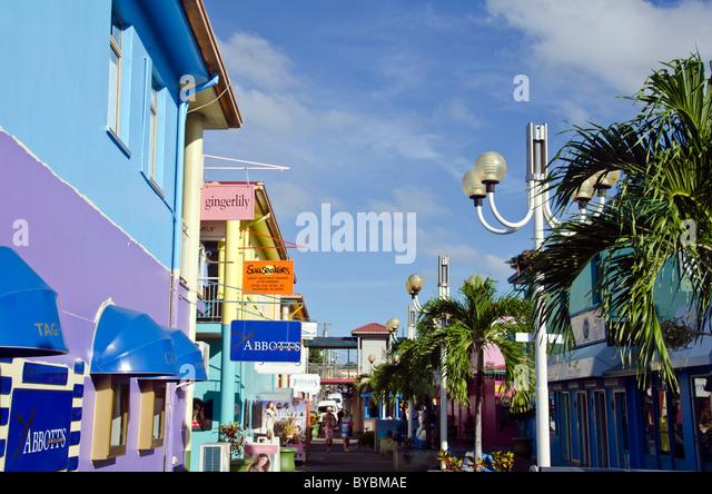 Antigua Heritage Quay duty free shopping area near cruise dock - Stock Image