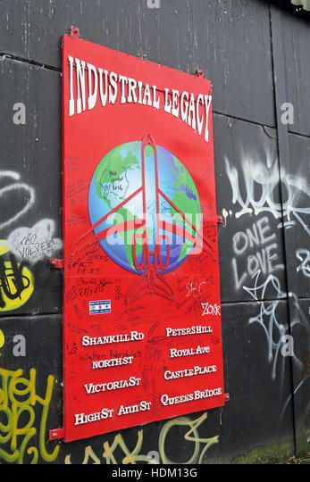Industrial Legacy - Belfast International Peace Wall,Cupar way,West Belfast,NI,UK - Stock Image