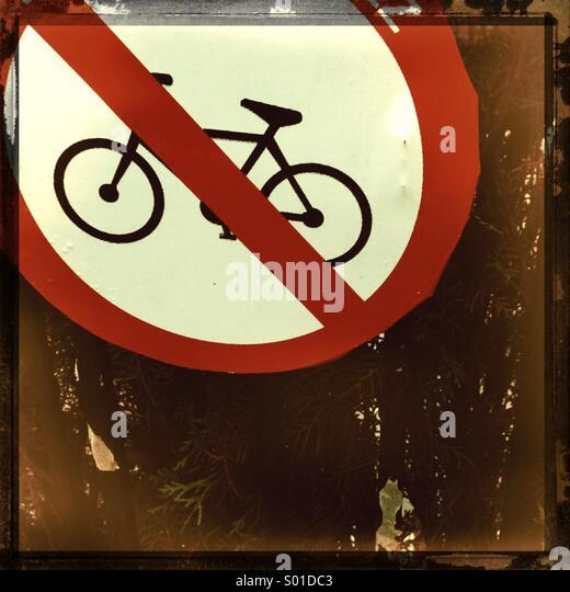No bike sign on wall - Stock Image