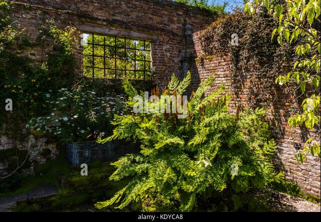 Derelict building corner at Sissinghurst Gardens, Kent, UK - Stock Image